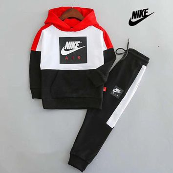 Nike Girls Boys Children Baby Toddler Kids Child Fashion Casual Top Sweater Pullover Hoodie Pants Trousers Set Two-Piece