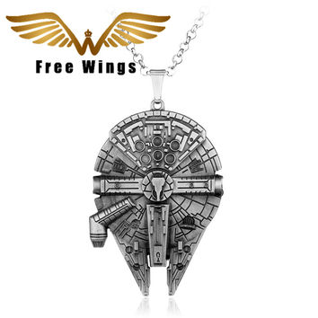Star Wars necklace Jewelry Vintage Silver Metal Fighter Plane Pendant Necklace Movie Gothic Style Chain Necklace Mens 2D38