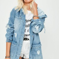 Missguided - Blue Denim Ripped Detail Parka Jacket