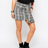 Noisy May Petite Grid Check Tie Waist Mini Skirt