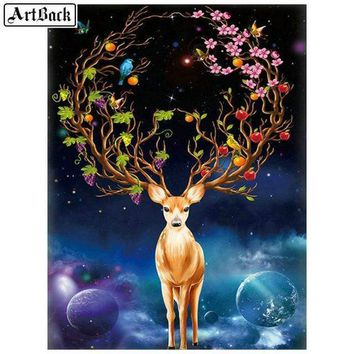 5D Diamond Painting Flower Deer Antlers Kit