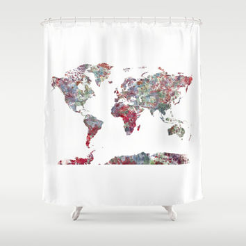 World Map Shower Curtain by MapMapMaps.Watercolors