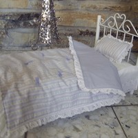 """Handmade Lavender Stripe 18"""" American Girl Doll Bed Quilt and Pillow"""