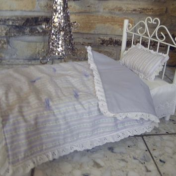 "Handmade Lavender Stripe 18"" American Girl Doll Bed Quilt and Pillow"
