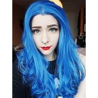 Long Pure Sea Blue Wave Synthetic Lace Front Wig