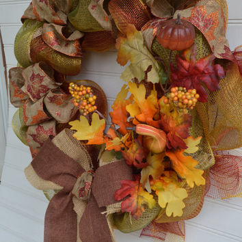 Fall Leaves Autumn Burlap Ribbon Mesh Wreath