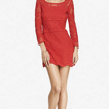 RED BAROQUE LACE DRESS from EXPRESS