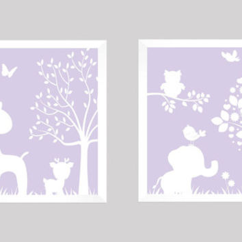 White on Lavender Enchanted Forest Animals CUSTOMIZE YOUR COLORS 8x10 Prints, set of 2, nursery decor nursery print art baby room decor