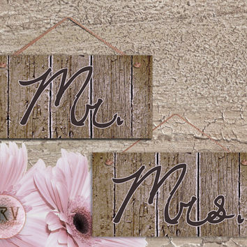 "Mr. and Mrs. Wedding Signs, Brown Distressed Wood Style, Rustic Signs, Weatherproof, 5"" x 10"" Sign, Wedding Chair Signs, Made To Order"