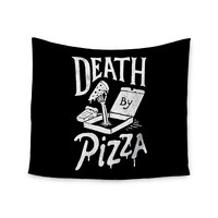 "Tatak Waskitho ""Death By Pizza"" Food Black Wall Tapestry"
