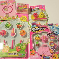 Shopkins Deluxe Season 4 Set With 2 Shopkins in Basket 1 Set of 5 Shopkins 1 Necklace & Bracelet Set 1 Erasers and Pencils 1 Pencil Toppers Set