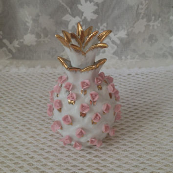 Lefton Porcelain Pineapple Perfume Bottle, Applied Pink Roses, Cork Stopper, Gold Accents, KW9284 Collectible 1950s  Vanity, Curio, Bath