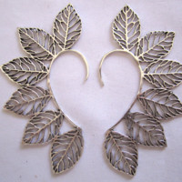 Cutout Leaf Ear Cuff - Silver