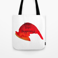 Peace Love Happiness Tote Bag by Grimalkin Studio
