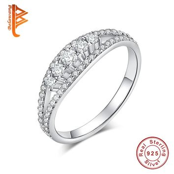 BELAWANG New Collection 925 Sterling Silver Princess Cut  Finger Ring With Cubic Zirconia For Women Wedding Jewelry
