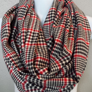 Basketweave Red Black & Cream Plaid Infinity Scarf Womens Plaid Fashion Scarves Girls Plaid Circle Scarves Plaid Accessories Red Plaid Scarf