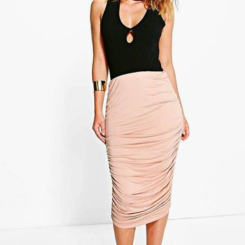Steph Rouched Side Jersey Midi Skirt | Boohoo