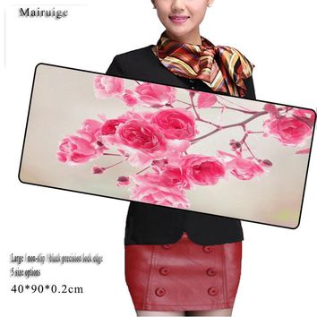Rose Flowers  Large Gaming Mouse Pad 900*400mm League of Legends Anime Mousepad Mouse Pad Gamer Locking Edge Mouse Keyboards Mat