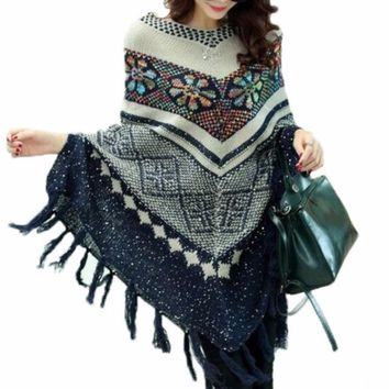 Vintage Fringe Bohemian Floral Knitted Women Pullover Poncho