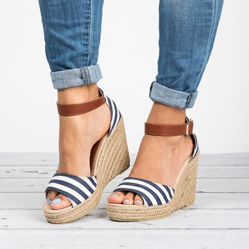 Rico Navy Wedges Sandals