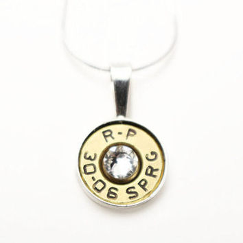 Sterling Silver Bullet Necklace - Bullet Jewelry - Gun Necklace - Country Jewelry - Gift Ideas - Personalized Necklace - Birthstone Necklace