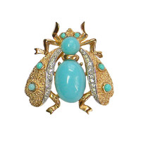 Crown Trifari Bee Brooch Turquoise Cabochon Clear Rhinestone 1960s Figural Bug Insect Fly