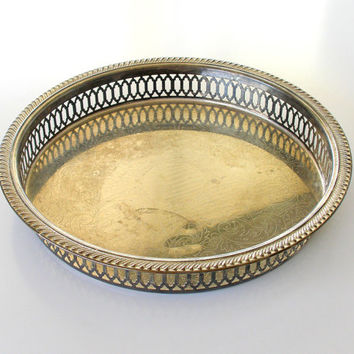 Vintage Dresser Tray Silver Plate Vanity Dressing Table Etched Patina