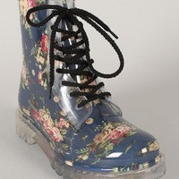 Qupid Portland-01 Jelly Floral Lace Up Rain Boot