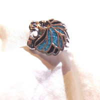 Large Silver American Style Stone Inlay Lion 11.25 Size Ring
