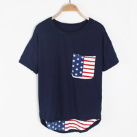 The wind pocket loose cotton short sleeve T-shirt