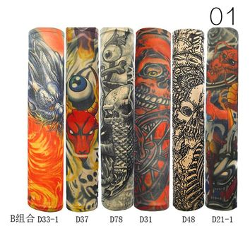 6pcs New Designed Comfortable Outdoor Sleeve Tattoo Sleeve Seamless Male And Female Flower Arm Sun Fashion Tattoo Sleeve M04889