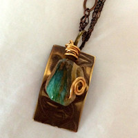 Peruvian Opal and Brass Pendant
