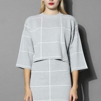 Grid Print Knitted Crop Top and Skirt Set in Grey