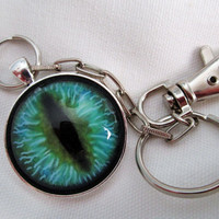 Glass eye keychain with clip and chain