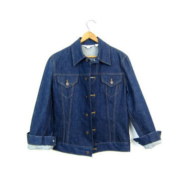 70s 80s Dark Blue Denim Jean Jacket Cropped Button Down Coat Pockets Hipster Jean Jacket Spring Jacket Western Boho Womens XS Small