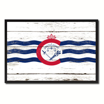 Cincinnati City Ohio State Flag Vintage Canvas Print with Black Picture Frame Home Decor Wall Art Collectible Decoration Artwork Gifts