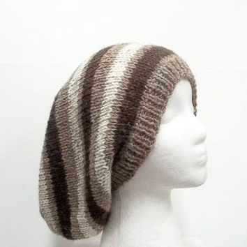 Slouch hat, brown and tan stripes, large size.  5210