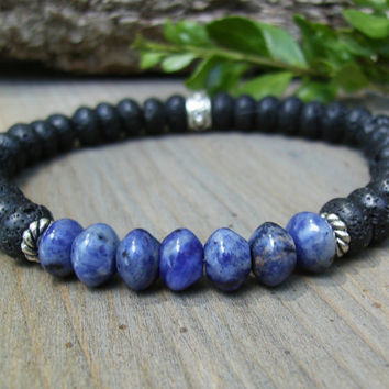 Men's Black and Blue Bracelet, Blue Sodalite Gemstone, Black Lava Stone, Silver Beads, Elegant, Unisex Jewelry, Stretch, Casual, Gift Idea