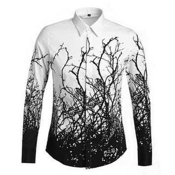 ac NOOW2 Star Same Style Men's Personality Tree Pattern Long Sleeve Casual Shirt High Quality Royal Pattern Shirts Turn Down Collar Male