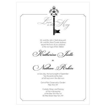 Key Monogram Invitation Berry (Pack of 1)