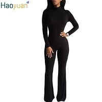 HAOYUAN Woman Bodysuit Sexy One Piece Jumpsuit Turtleneck Boot Cut Long Sleeve Rompers Bodycon Sexy Back Zipper Outfit Overalls