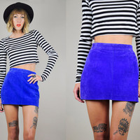 Cobalt blue SUEDE 80's LEATHER neon high waist Micro Mini Pencil SKIRT bandage body con tight xs