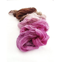Chocolate ombre scarf silk fashion, hand dyed scarf ombre  silk  hand painted  crinkle long, Brown and Pink