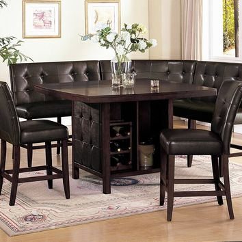 Acme 07250--52-53-55 6 pc Bravo espresso finish wood counter height center pedestal dining table set