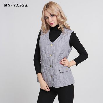 New Autumn Winter Women Waistcoat Padded Sleeveless Jacket Casual Classic Vest Plus Size