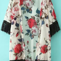 Floral Fringed Bottom and Sleeve Kimono