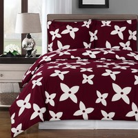 Desiree Burgundy Duvet Cover 100% Combed cotton