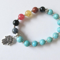 Chakra Bracelet with Turquoise and Gemstones Yoga Bracelet with a Hamsa Charm Chakra Jewelry Yoga Jewelry Zen