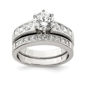 925 Sterling Silver Cubic Zirconia 2 Piece Wedding Set Ring