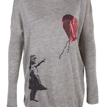 Banksy girl with heart balloon print top jumper knitwear oversized top shirt womens ladies cardigan